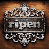 Ripen vector metal word on wood — Stock Vector