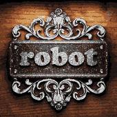 Robot vector metal word on wood — Stock Vector