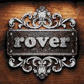 Rover vector metal word on wood — Stock Vector
