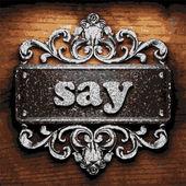 Say vector metal word on wood — Stock Vector