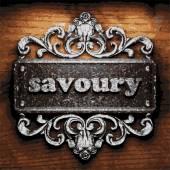 Savoury vector metal word on wood — Stock Vector