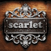 Scarlet vector metal word on wood — Wektor stockowy