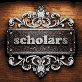 Scholars vector metal word on wood — Stock Vector