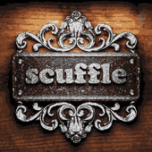 Scuffle vector metal word on wood — Stock Vector