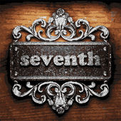 Seventh vector metal word on wood — Stock Vector