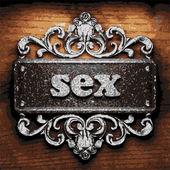 Sex vector metal word on wood — Stock Vector