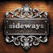 Sideways vector metal word on wood — Stock Vector