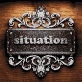 Situation vector metal word on wood — Stock Vector