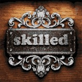 Skilled vector metal word on wood — Stockvektor
