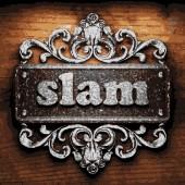 Slam vector metal word on wood — Stock Vector