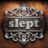 Slept vector metal word on wood — Stock Vector