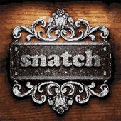Snatch vector metal word on wood — Stock Vector
