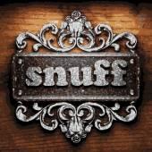 Snuff vector metal word on wood — Stock Vector
