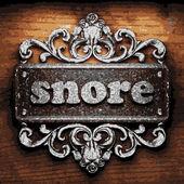 Snore vector metal word on wood — Stock Vector