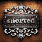 Snorted vector metal word on wood — Stock Vector