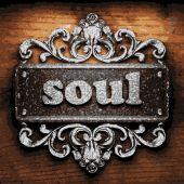 Soul vector metal word on wood — Stock Vector