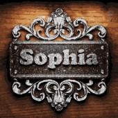 Sophia vector metal word on wood — Vector de stock
