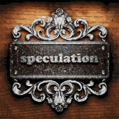 Speculation vector metal word on wood — Stock Vector