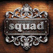 Squad vector metal word on wood — Stock Vector