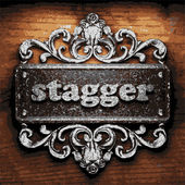Stagger vector metal word on wood — Stockvektor