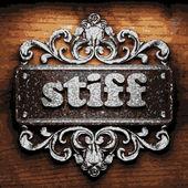 Stiff vector metal word on wood — Stock Vector