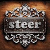 Steer vector metal word on wood — Stock Vector