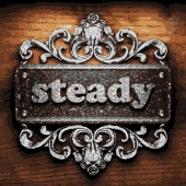 Steady vector metal word on wood — Stock Vector