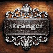 Stranger vector metal word on wood — Stock Vector