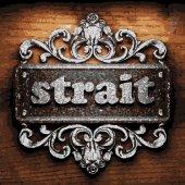 Strait vector metal word on wood — Stock Vector