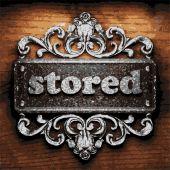 Stored vector metal word on wood — Stock Vector