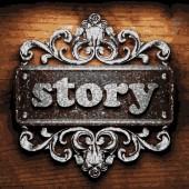Story vector metal word on wood — Stock Vector