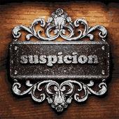 Suspicion vector metal word on wood — Stock Vector