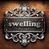 Swelling vector metal word on wood — Vector de stock