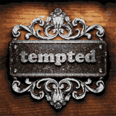 Tempted vector metal word on wood — Stock Vector