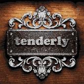 Tenderly vector metal word on wood — Stock Vector