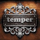 Temper vector metal word on wood — Stock Vector