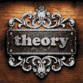 Theory vector metal word on wood — Stock Vector
