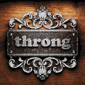 Throng vector metal word on wood — Cтоковый вектор