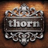 Thorn vector metal word on wood — Stock Vector