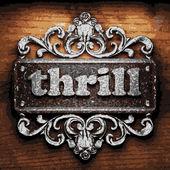 Thrill vector metal word on wood — Stock Vector