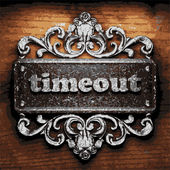 Timeout vector metal word on wood — Stock Vector