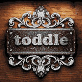 Toddle vector metal word on wood — Stock Vector