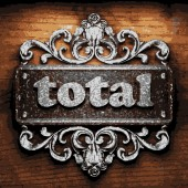 Total vector metal word on wood — Stock Vector