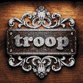 Troop vector metal word on wood — Stock Vector