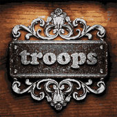 Troops vector metal word on wood — Stock Vector