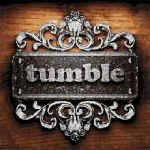 Tumble vector metal word on wood — Stock Vector