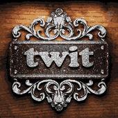Twit vector metal word on wood — Stock Vector