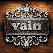 Vain vector metal word on wood — Stock Vector