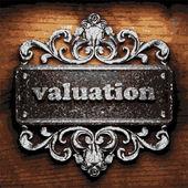Valuation vector metal word on wood — Stock Vector