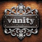 Vanity vector metal word on wood — Stock Vector